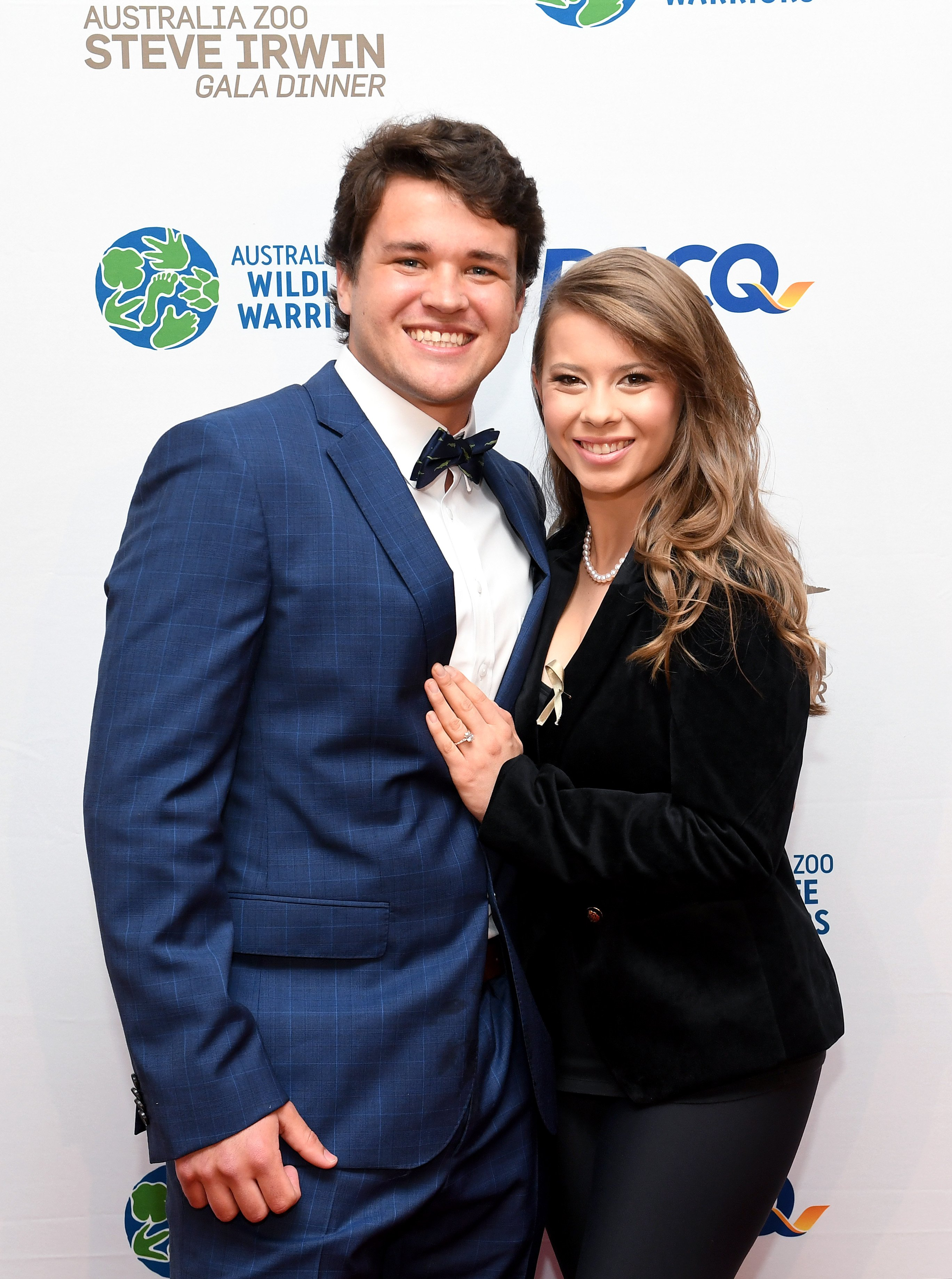 Bindi Irwin  with now-husband Chandler Powell at the annual Steve Irwin Gala Dinner at Brisbane Convention & Exhibition Centre on November 09, 2019 in Brisbane, Australia.   Source: Getty Images