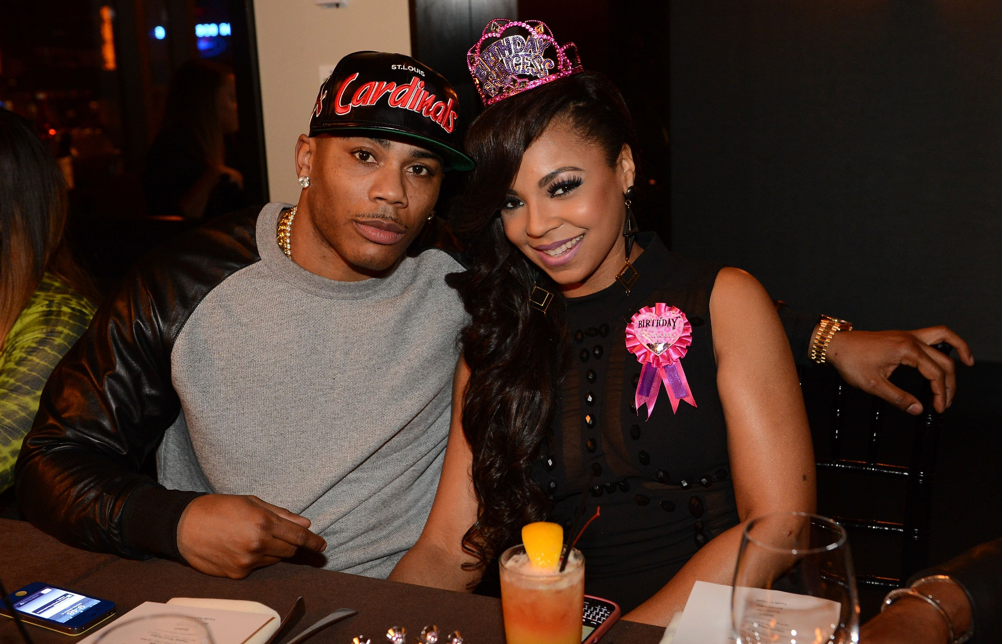 Nelly and ex, Ashanti during Ashanti's surprise birthday dinner on October 13, 2012 in Atlanta, Georgia | Photo: Getty Images