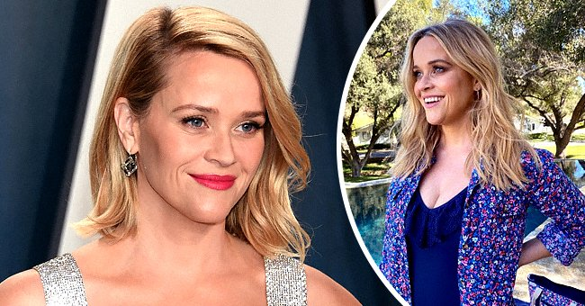 Reese Witherspoon attends 2020 Vanity Fair Oscar Party at Wallis Annenberg Center for the Performing Arts on February 09, 2020 in Beverly Hills, California, the next photo shows the actress posing outdoors while smiling | Photo: Getty Images and Instagram/@reesewitherspoon