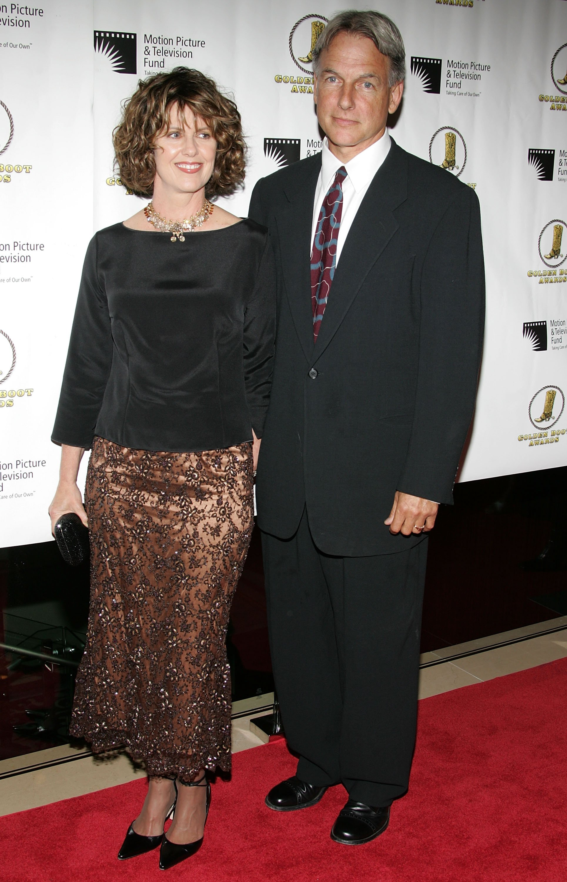 Actor Mark Harmon and wife, actress Pam Dawber, attend the Golden Boot Awards held at the Beverly Hilton Hotel.   Source: Getty Images