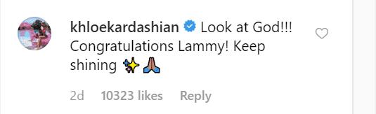 Khloé's comment on Lamar's post.   Source: Instagram/lamarodom