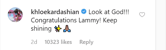 Khloé Kardashian's comment on Lamar Odom's post./ Source: Instagram/lamarodom