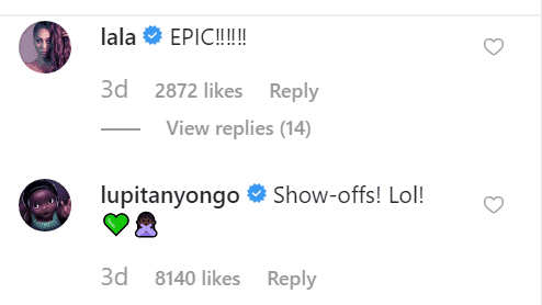 LaLa Anthony and Lupita Nyong'o comments on Ciara's post | Source: Instagram/ciara