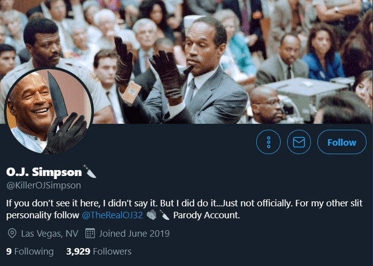 Twitter profile of @KillerOJSimpson | Source: Twitter/KillerOJSimpson