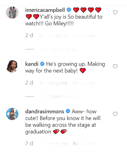 Erica Campbell, Kandi Burruss and D'Andra Simmons' comments on Eva's post. | Source: Instagram/evamarcille
