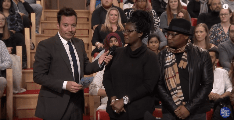 Divya and Terry McArtgur were surprised by Jimmy Fallon. | Source: YouTube/The Tonight Show Starring Jimmy Fallon