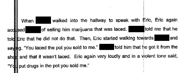 Extract from the sworn statement provided to the L.A. County DA's Office. | Source: TMZ