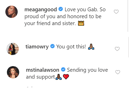 Meagan Good, Tia Mowry and Tina Lawson comments on Gabby's post | Source: instagram/gabunion