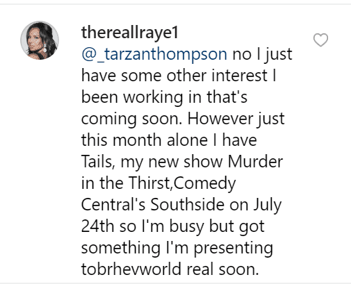 Lisa's reply to a fan. | Source: Instagram/thereallraye1