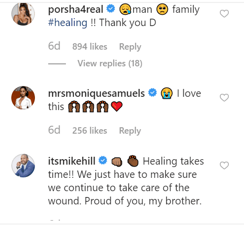 Porsha Williams, Monique Samuels and Mike Hill's comments on Dennis McKinley's post | Source: Instagram.com/workwincelebrate