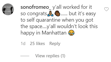 A fan commented on a Marjorie Harvey's photo of her sitting with her husband Steve Harvey poolside outside their mansion | Source: Instagram.com/marjorie_harvey