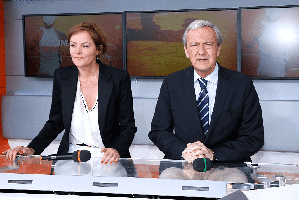 PARIS, FRANCE - 24 MAI : Cendrine Dominguez, animatrice et Daniel Bilalian, directeur général adjoint de France Télévisions pour le sport, le 24 mai 2015 à Paris, France.  | Photo : Getty Images