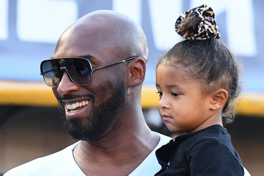 Kobe Bryant and daughter Bianka Bella prior to a Women's International friendly match in Pasadena, California, USA, in August 2019.   Source: Getty Images