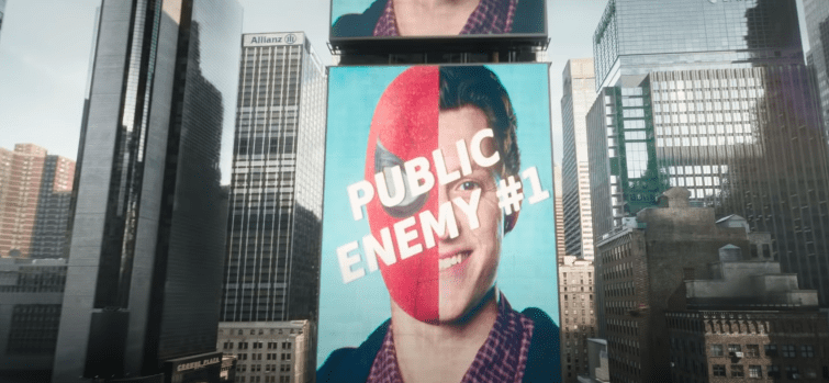 An anti-Peter Parker/Spider-Man propaganda from the Daily Bugle being shown in Times Square, New York   Photo: Youtube.com/Marvel Entertainment