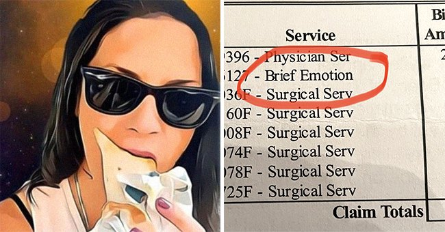 Twitter user Midge's profile picture [left]; A bill for Midge's mole removal surgery [right]. | Source: twitter.com/mxmclain