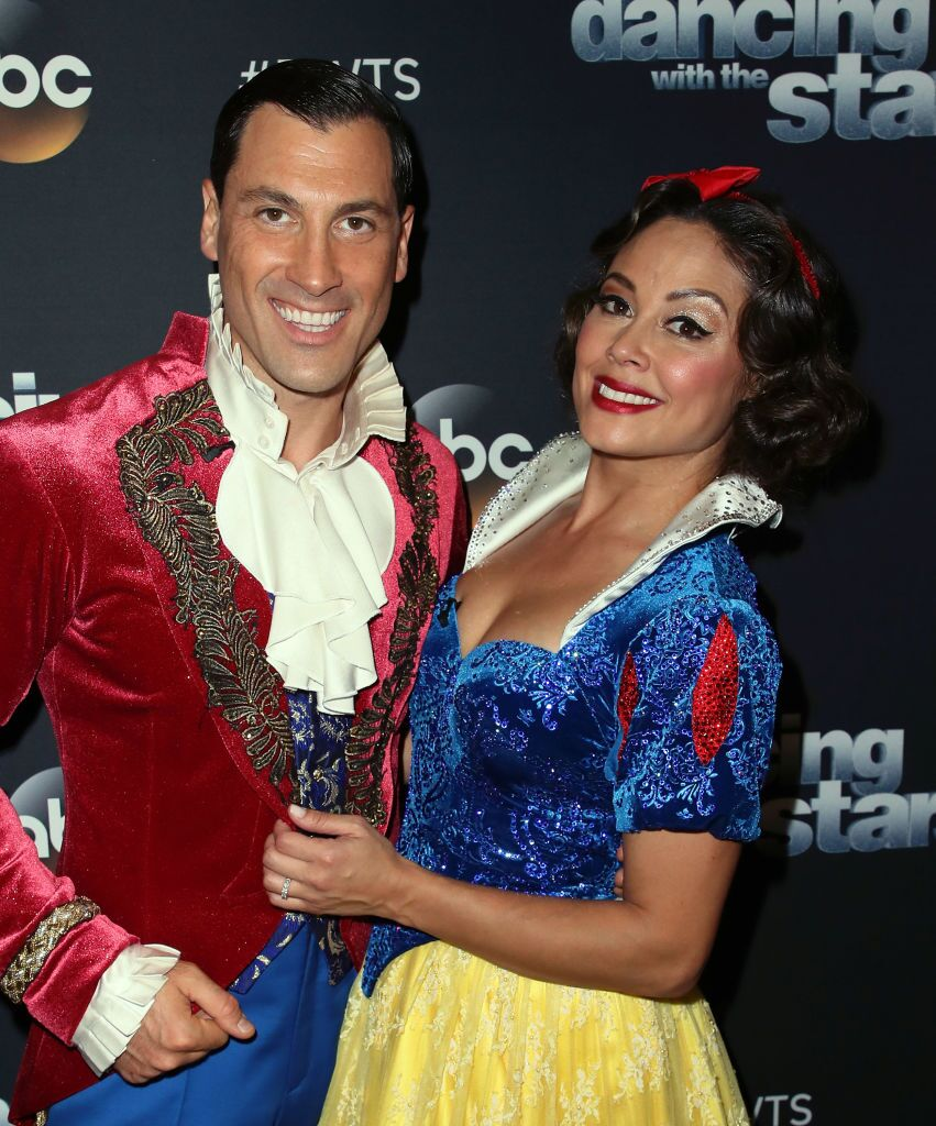 """Vanessa Lachey and dancer Maksim Chmerkovskiy pose at """"Dancing with the Stars"""" season 25  