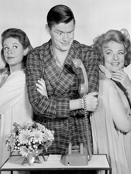 "Elizabeth Montgomery, Dick York, and Agnes Moorehead from ""Bewitched."" 
