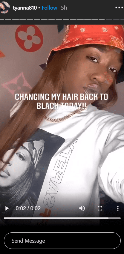 A screenshot of T'yanna Wallace flaunting her hair with a red hat on. | Photo: Instagram/tyanna810