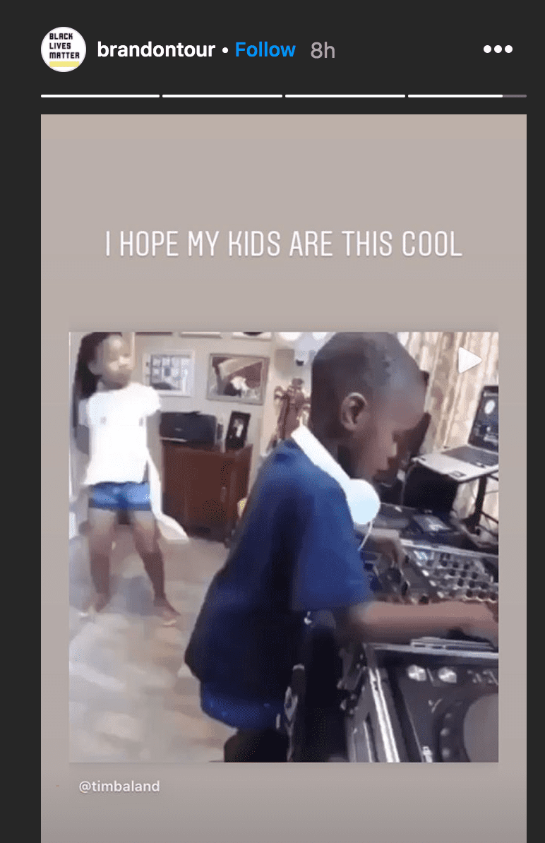Brandon Frankel posted a video on his Instagram storyof a young boy DJing while his sister danced to the music| Source: Instagram.com/brandontour