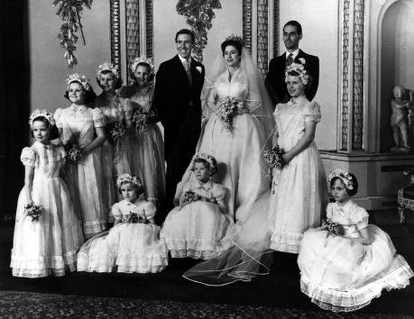 The bridal group at Buckingham Palace May 6, 1960 at the wedding of Princess Margaret and Antony Armstrong-Jones | Photo: Getty Images