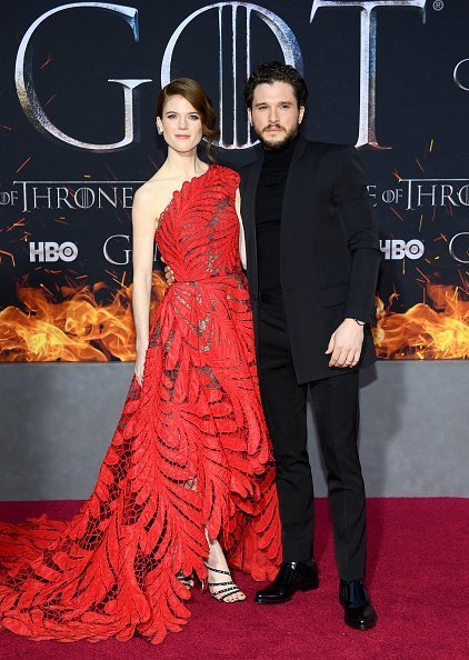"Rose Leslie and Kit Harington at the ""Game Of Thrones"" Season 8 Premiere on April 03, 2019 in New York City 