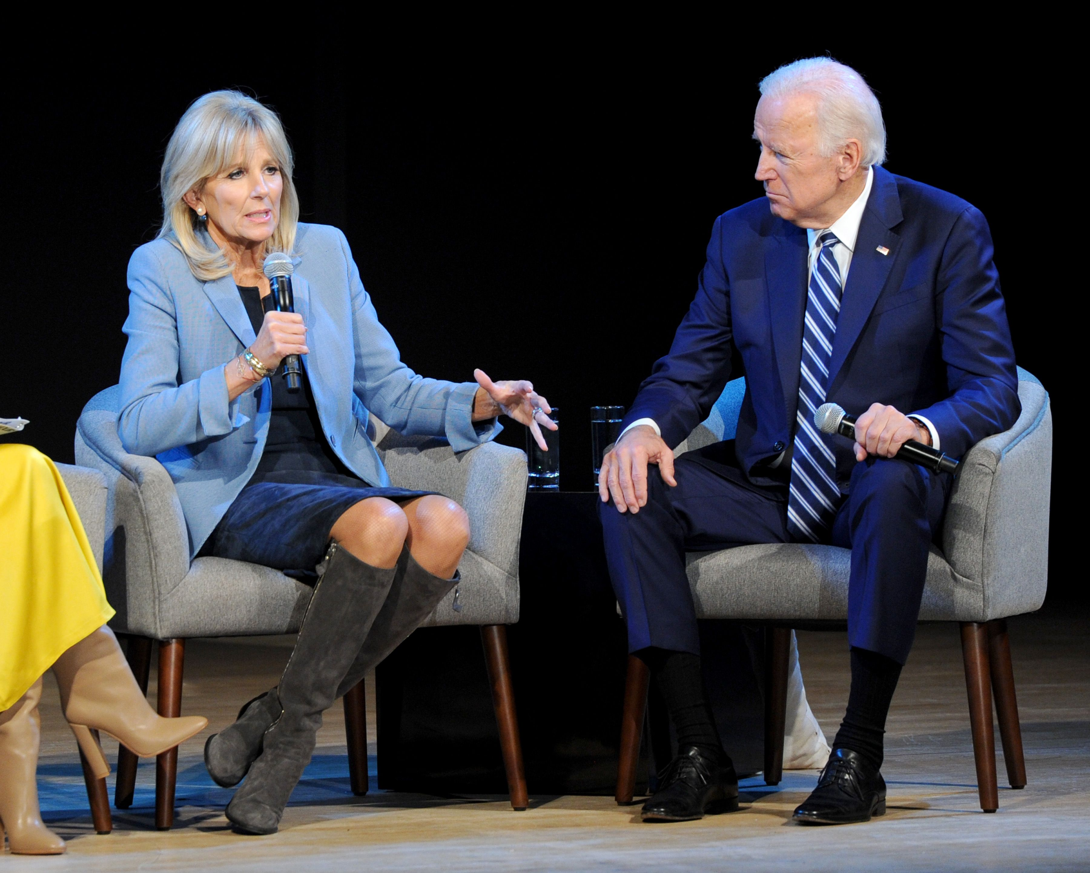Dr. Jill Biden, and Joe Biden speak onstage during Glamour Celebrates 2017 Women Of The Year Live Summit at Brooklyn Museum on November 13, 2017 | Getty Images