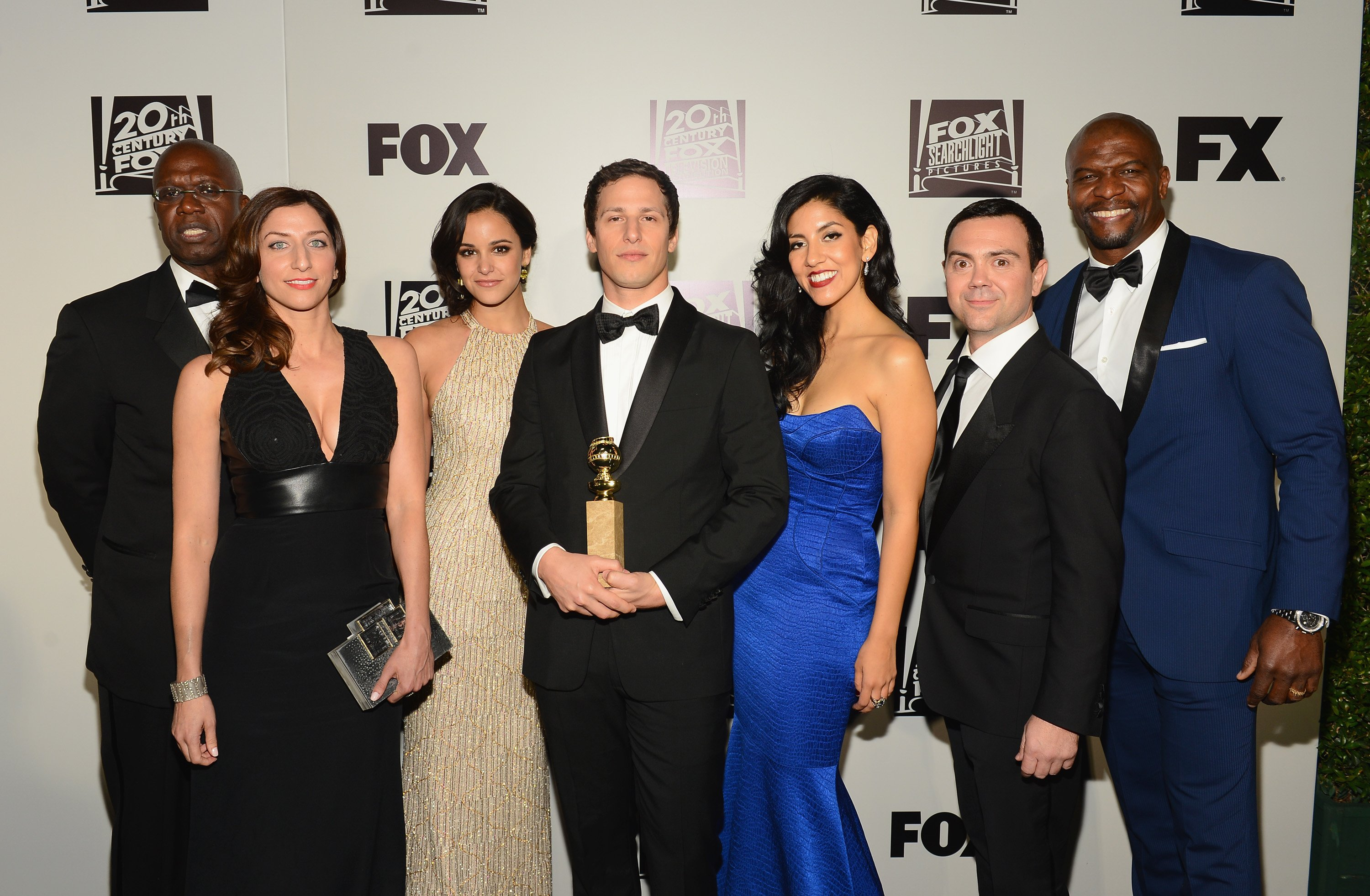 Andre Braugher, Chelsea Peretti, Melissa Fumero, Andy Samberg, Stephanie Beatriz, Joe Lo Truglio, and Terry Crews from the cast of 'Brooklyn Nine-Nine' attend the Fox And FX's 2014 Golden Globe Awards Party on January 12, 2014 in Beverly Hills, California | Photo: Getty Images