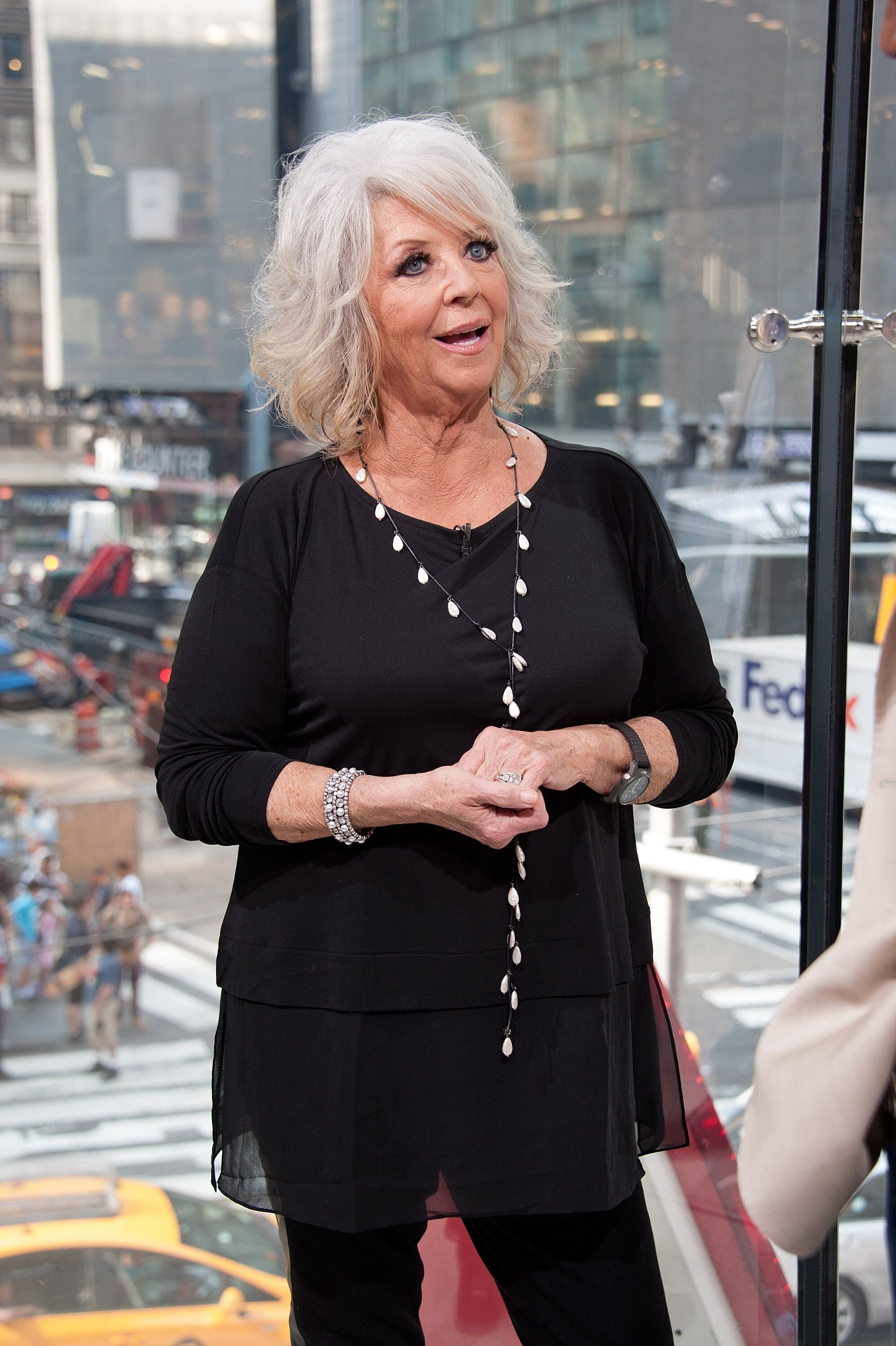 """Paula Deen visits """"Extra"""" at their New York studios at H&M in Times Square   Source: Getty Images"""