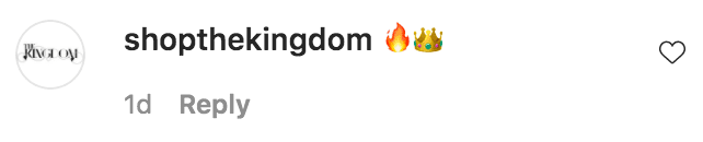 "The Instagram account for ""The Kingdom"" commented on Shantel Jackson wearing one of their products 