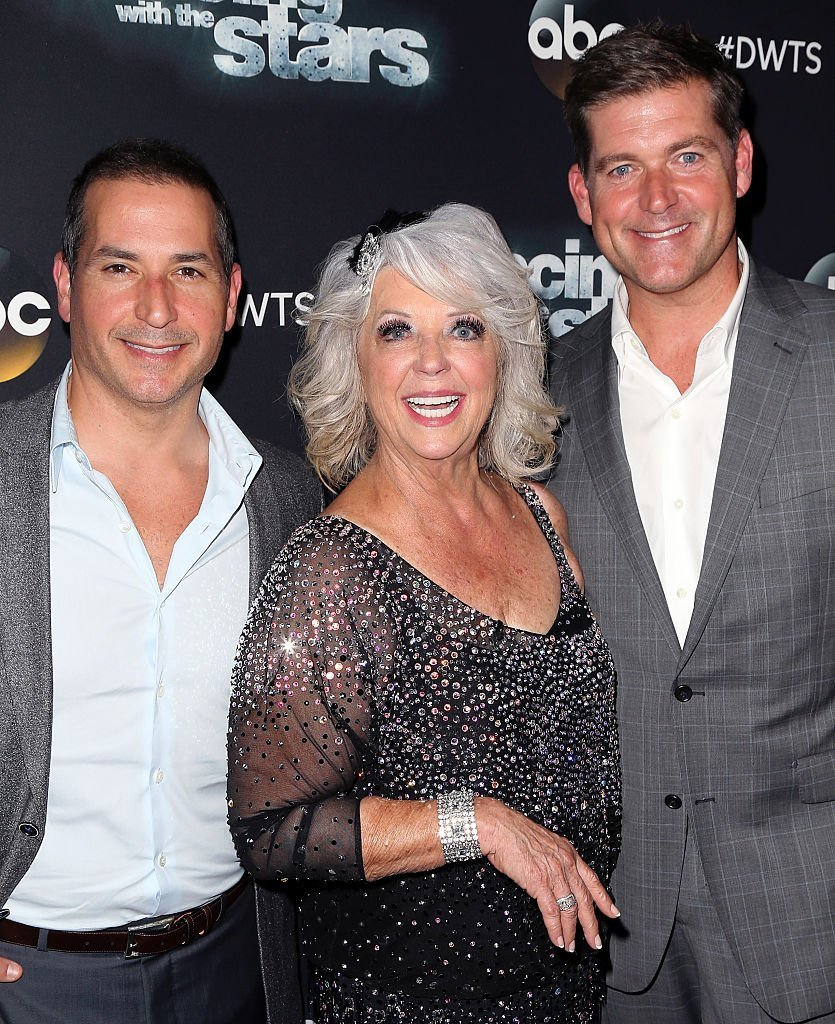 "Celebrity chef Paula Deen poses with sons Bobby and Jamie Deen at ""Dancing with the Stars"" Season 21 at CBS Television City. 