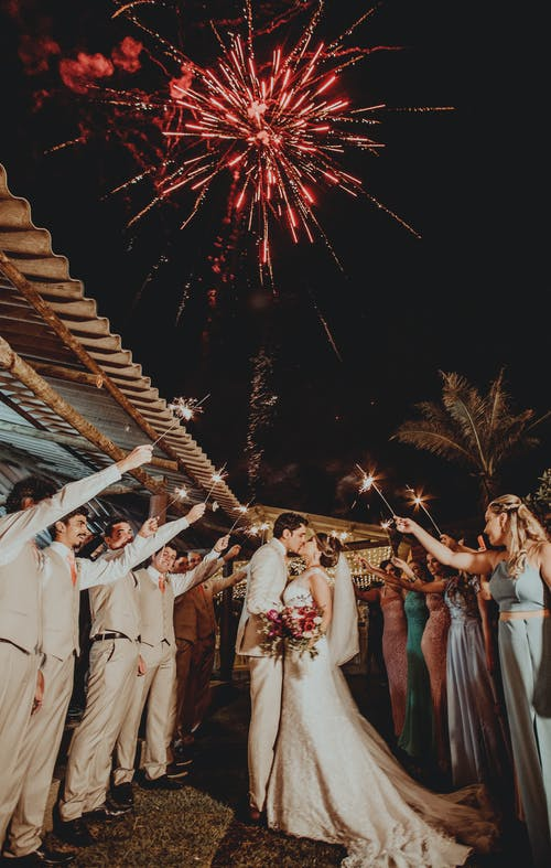 Wedding with fireworks | Source: Pexels