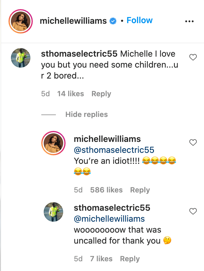 Screenshot of comments exchanged between Michelle Williams and an Instagram user. | Source: Instagram/michellewilliams