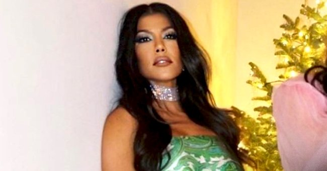 Kourtney Kardashian Flaunts Fit Figure in Silk Top and Matching Mini Skirt and Fans Are in Awe