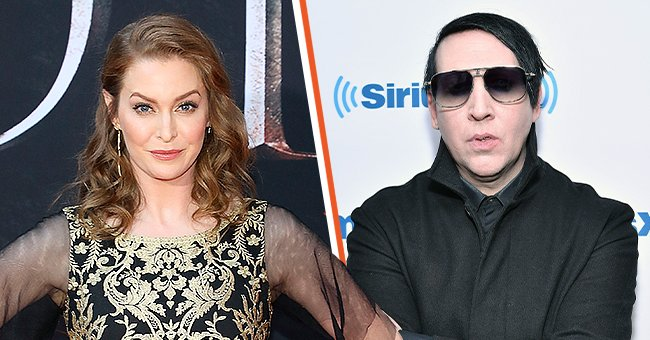 """Actress Esme Bianco at the Season 8 premiere of """"Game of Thrones"""" at Radio City Music Hall on April 3, 2019 in New York City (left), and musician Marilyn Manson visiting SiriusXM Studios on September 19, 2017 in New York City (right) 