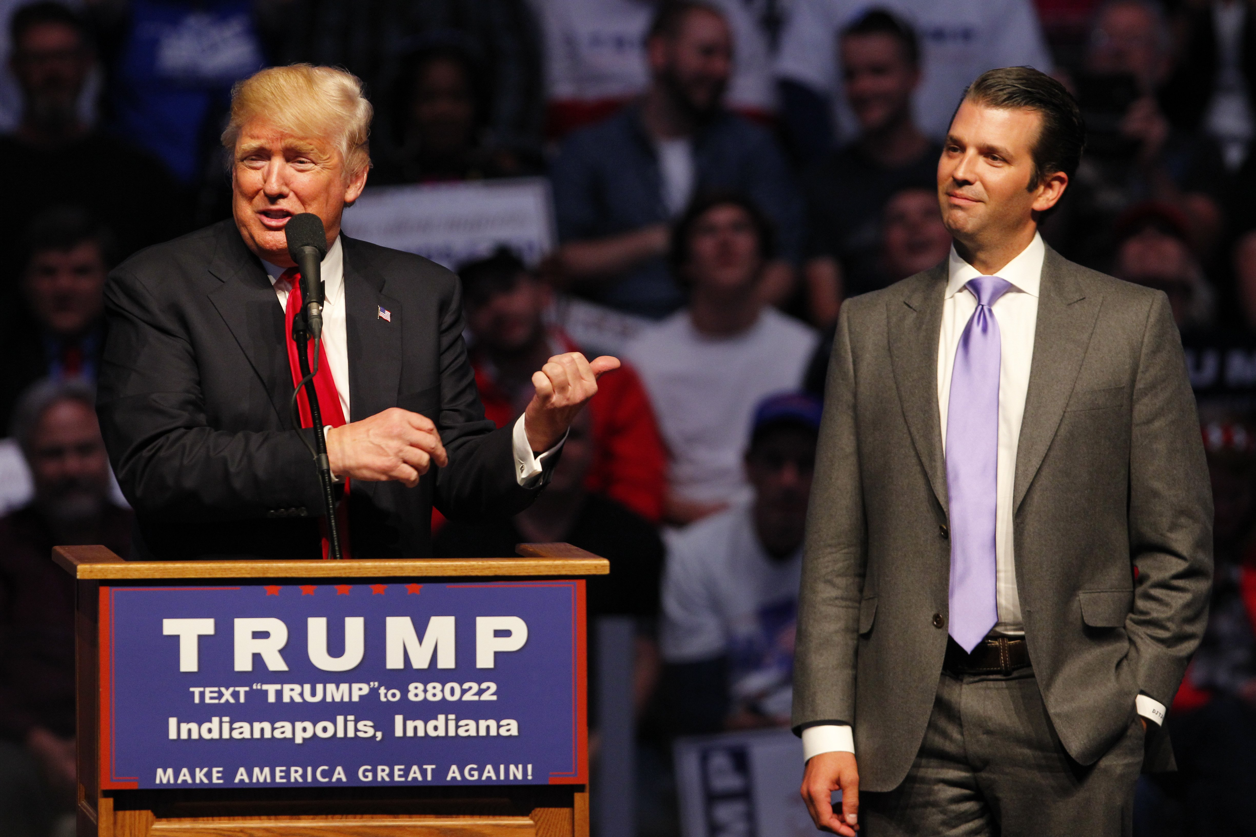 Donald Trump and his son Donald Trump Jr at a campaign rally in Indianapolis, Indiana on April 27, 2016 | Photo: Getty Images