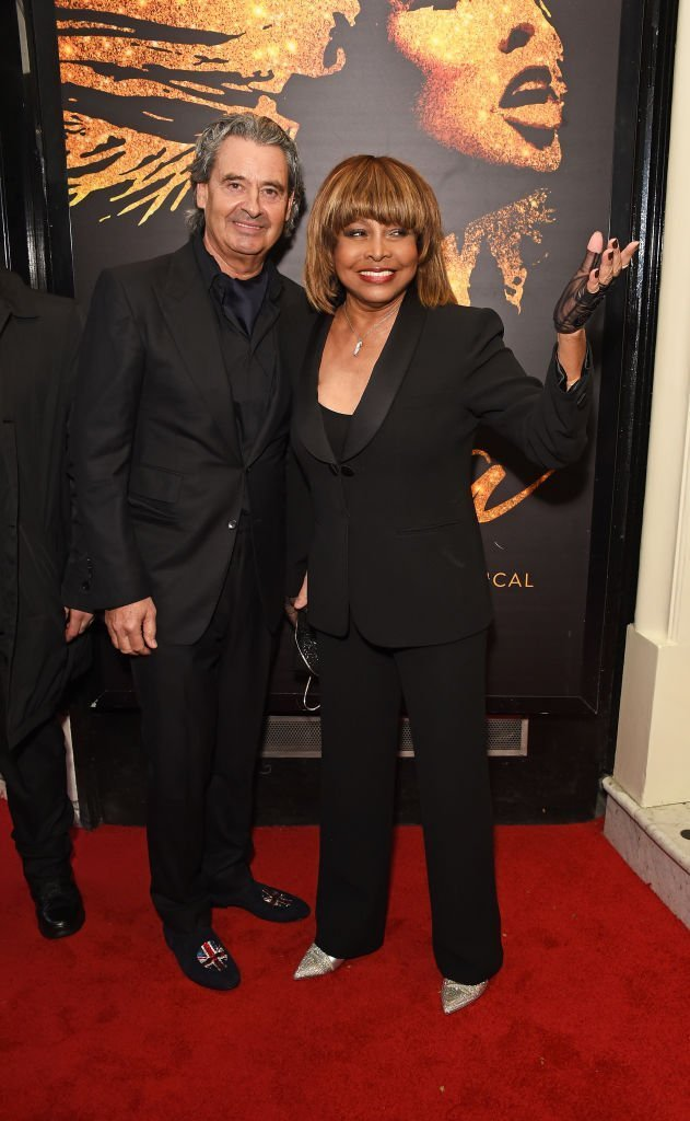 "Erwin Bach and Tina Turner arrive at the press night performance of ""Tina: The Tina Turner Musical"" at the Aldwych Theatre on April 17, 2018, in London, England. 