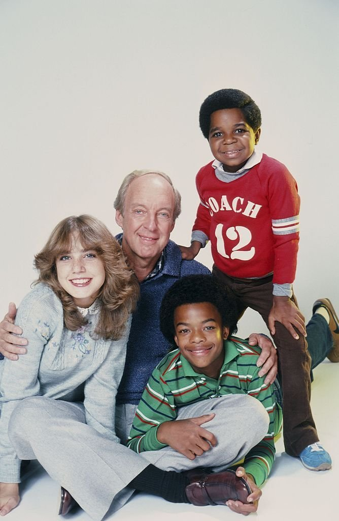 "Dana Plato as Kimberly Drummond, Conrad Bain as Philip Drummond, Todd Bridges as Willis Jackson, Gary Coleman as Arnold Jackson on ""Diff'rent Strokes""  