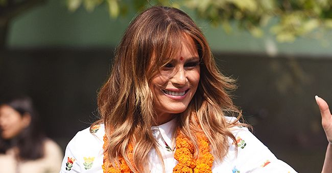 Melania Trump Flaunts Curves in Lotus-Printed Dress with Red Belt While Visiting a School in India