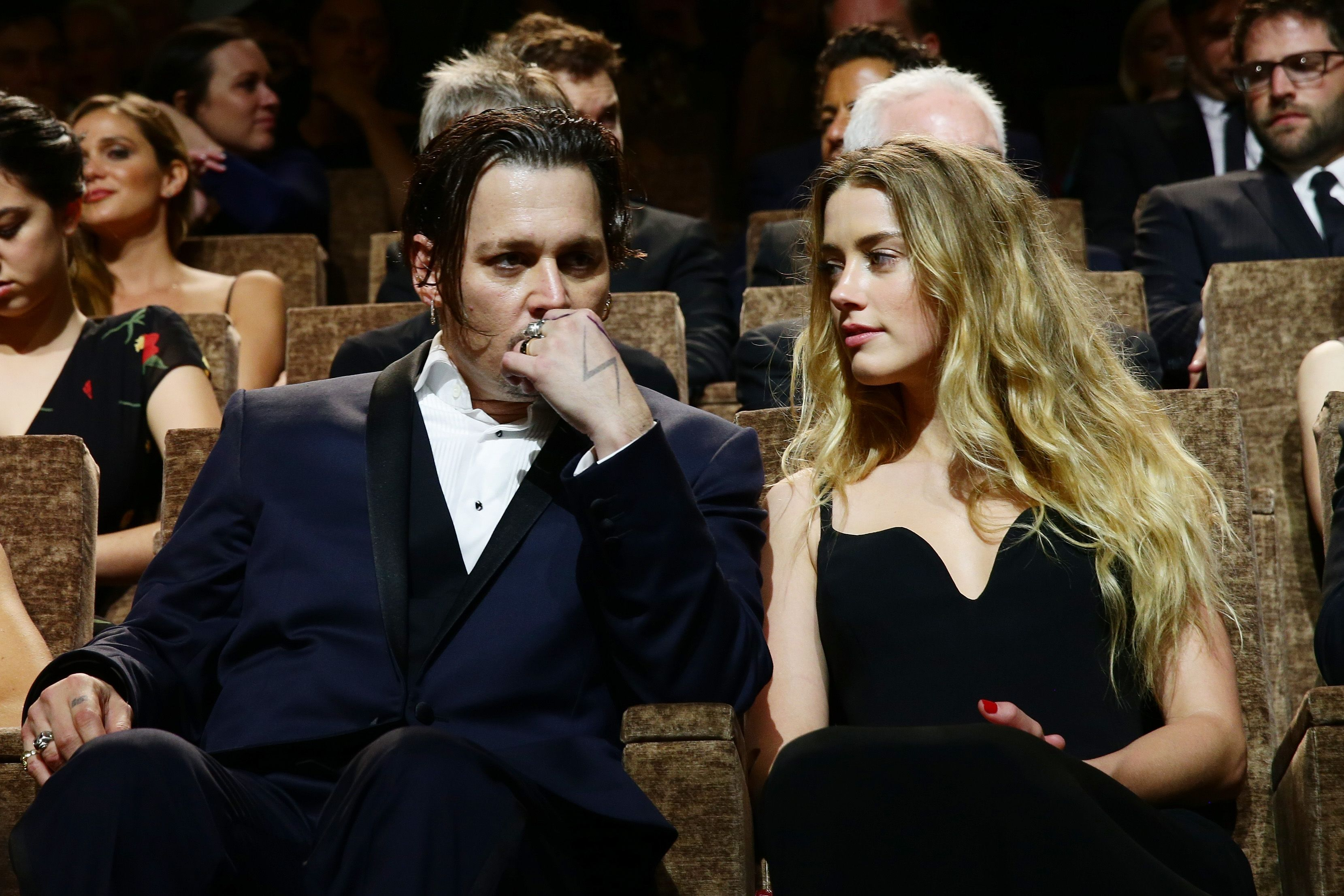 """Johnny Depp and Amber Heard ata premiere for """"Black Mass""""during the 72nd Venice Film Festival on September 4, 2015, in Italy 