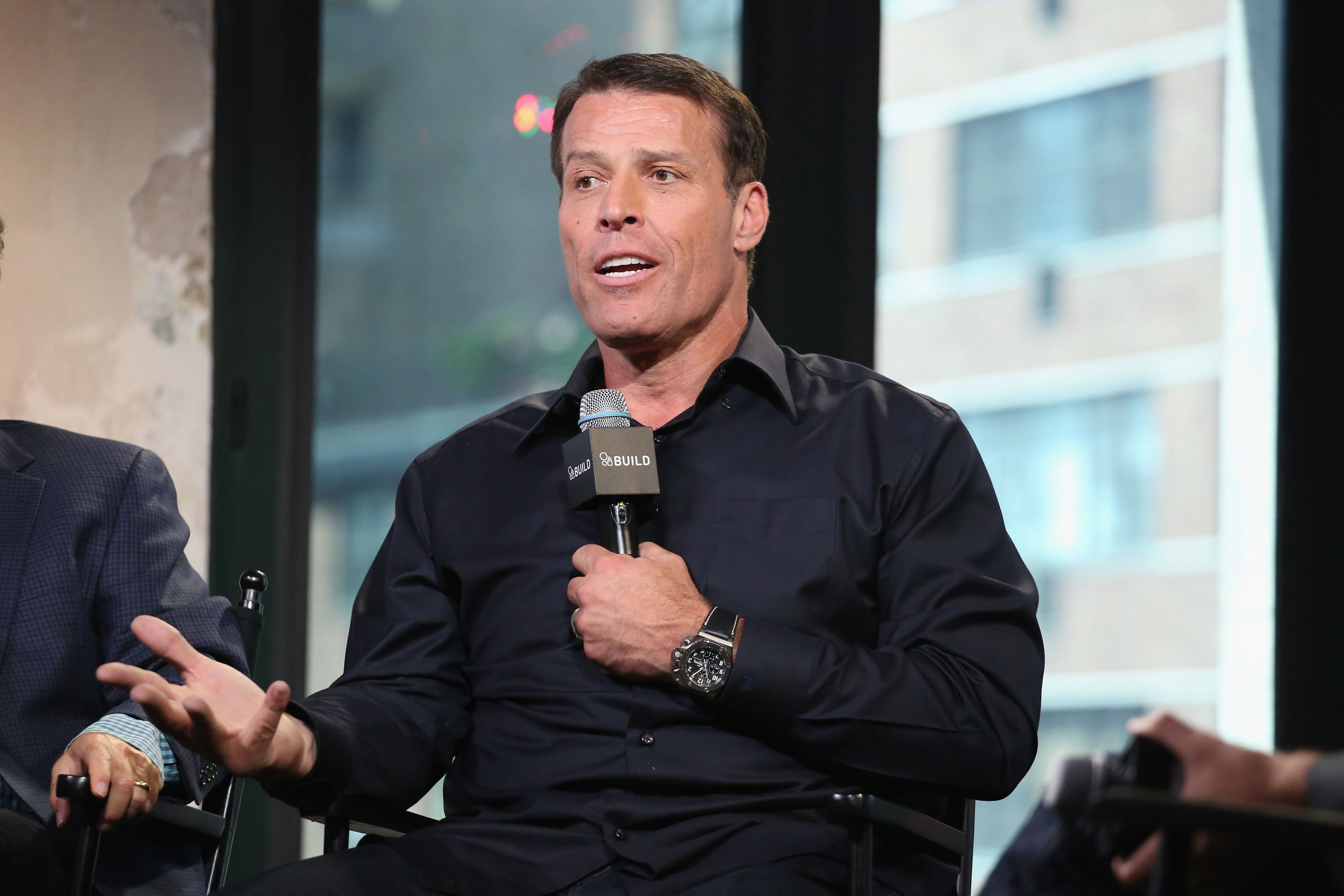"Tony Robbins speaks about his documentary ""I Am Not Your Guru"" in 2016 in New York 
