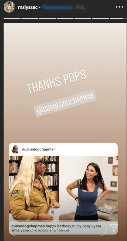 Lyssa Chapman thanks her father Duane Chapman for his birthday message on June 10, 2020   Photo: Instagram Story/mslyssac