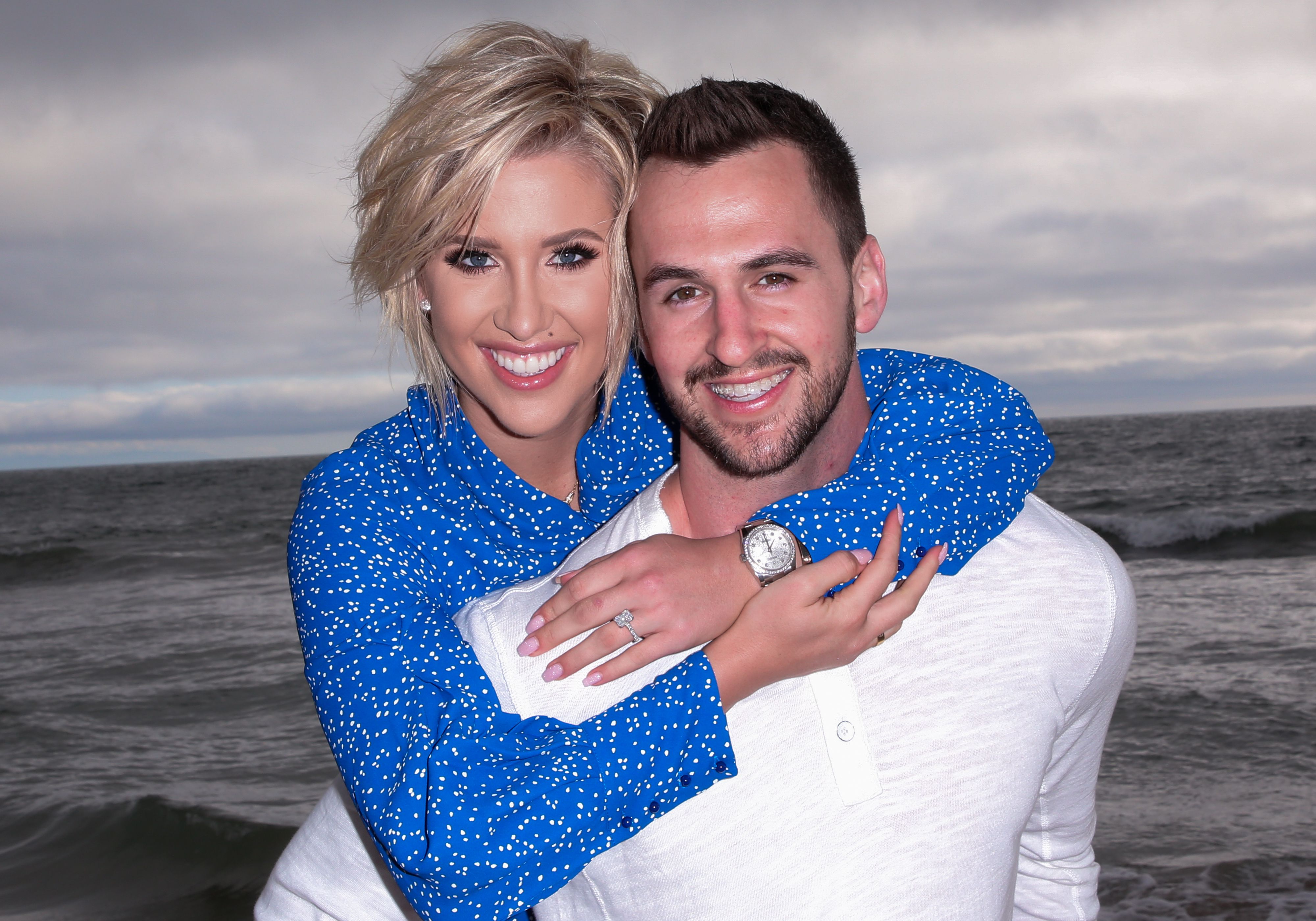 Savannah Chrisley and Nic Kerdiles smile for an engagement photo on March 27, 2019 in Santa Monica, California.   Source: Getty Images