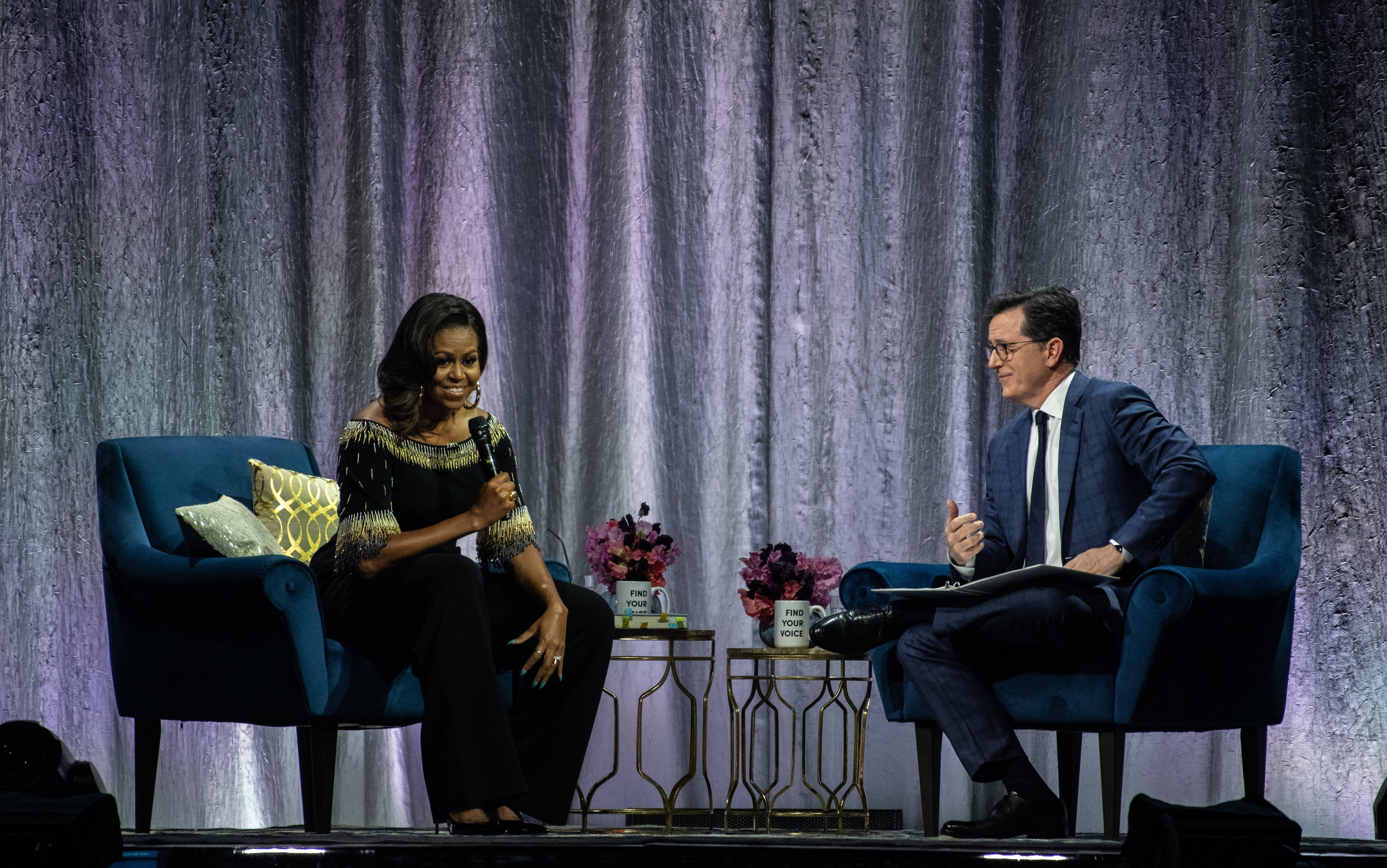 Michelle Obama on stage as part of her 'Becoming: An Intimate Conversation With Michelle Obama' tour at The O2 Arena on April 14, 2019 in London, England | Photo: Getty Images