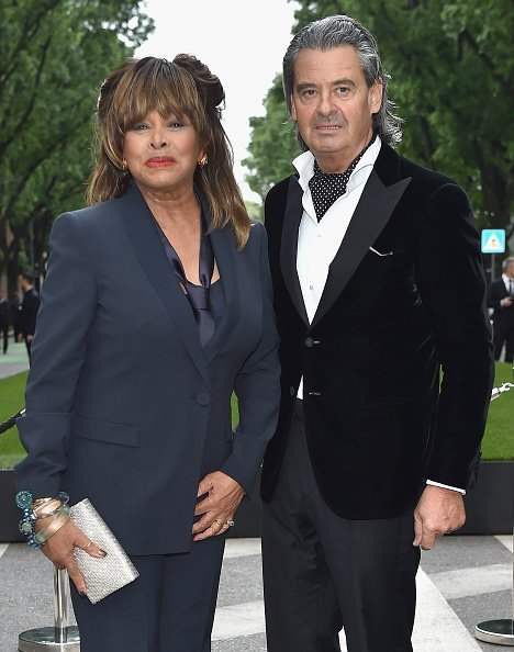 Tina Turner and Erwin Bach at the Giorgio Armani 40th Anniversary Silos Opening And Cocktail Reception on April 30, 2015 in Milan, Italy. | Photo: Getty Images