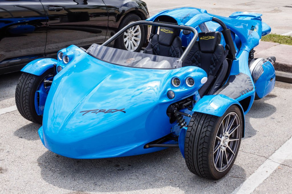 A photo of the Campagna T-REX three-wheeled motor vehicle in Miami. | Photo: Getty Images.