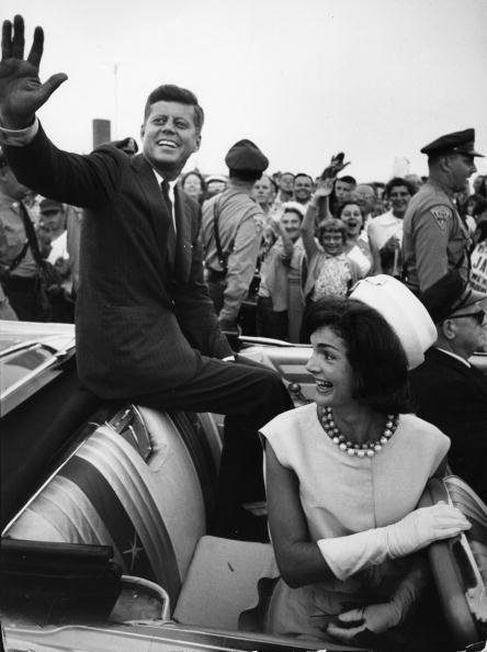 Presidential candidate Senator John F. Kennedy and Jackie greeting supporters at Hyannis Airport, Massachusetts on July 17, 1960   Source: Getty images