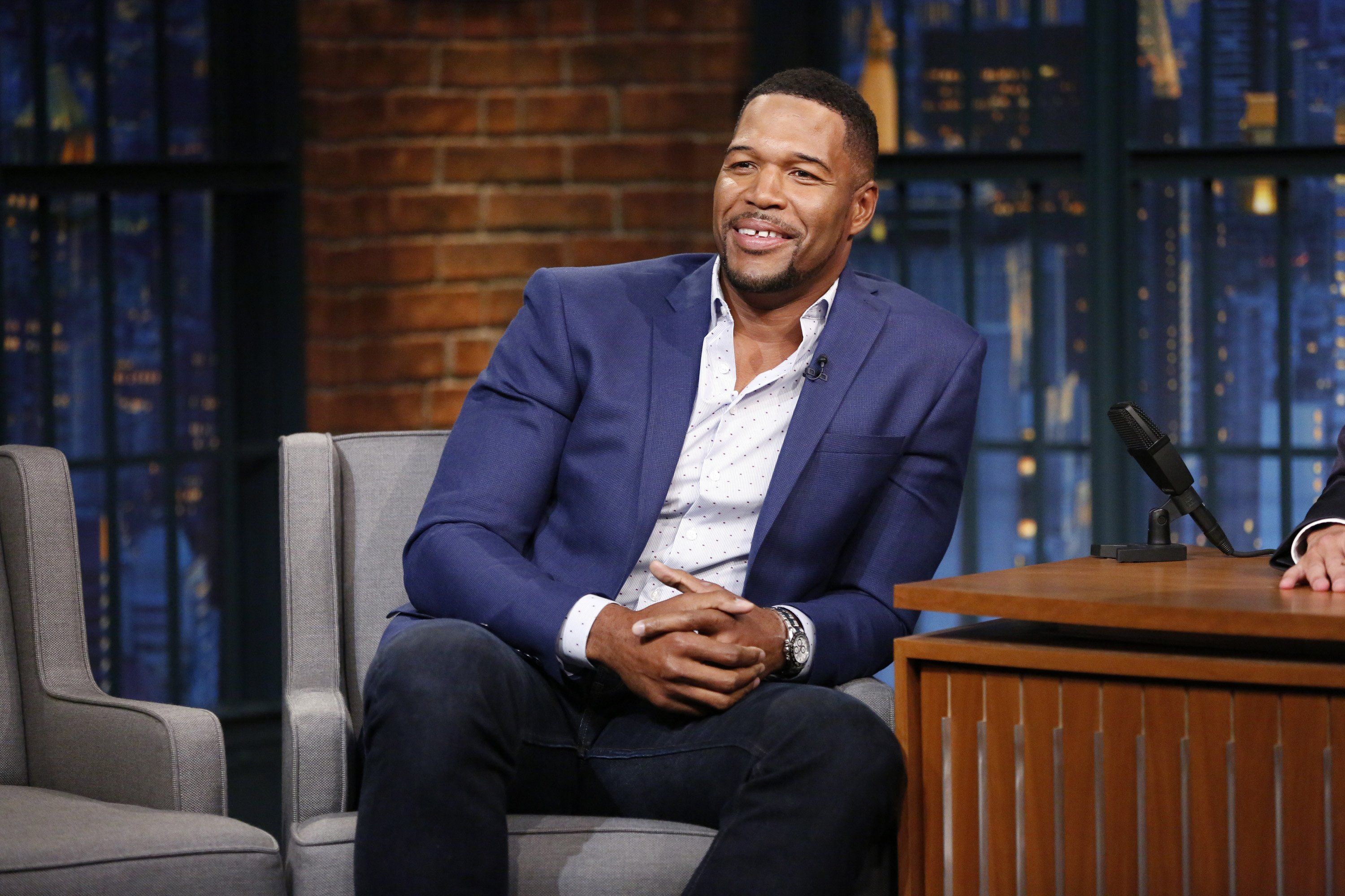 """Michael Strahan during an interview on """"Late Night with Seth Meyers"""" on October 2, 2017. 
