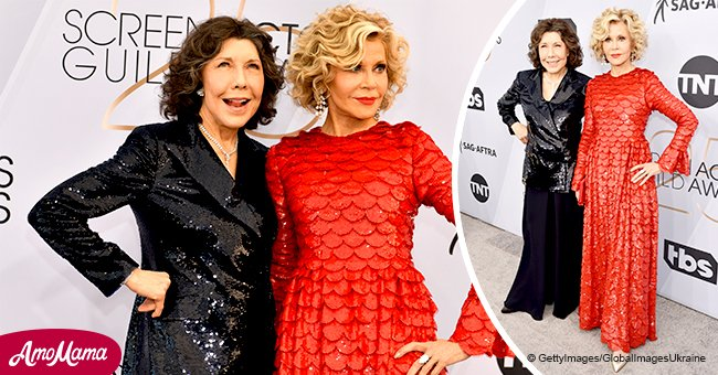 Jane Fonda flaunts $3m diamond ring while posing in a sparkling dress with Lily Tomlin