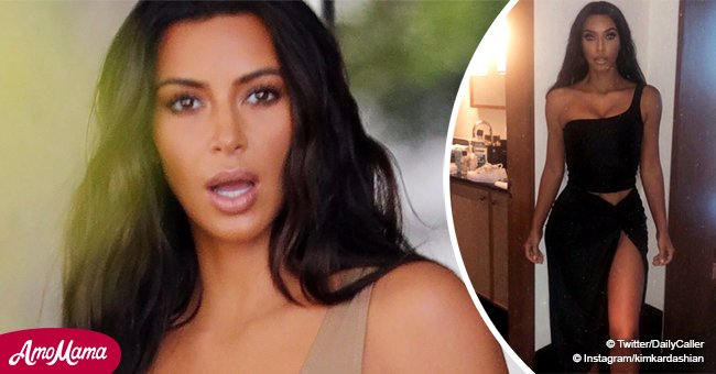 Kim Kardashian faces criticism for leaving underwear on the floor to pose in a racy black dress