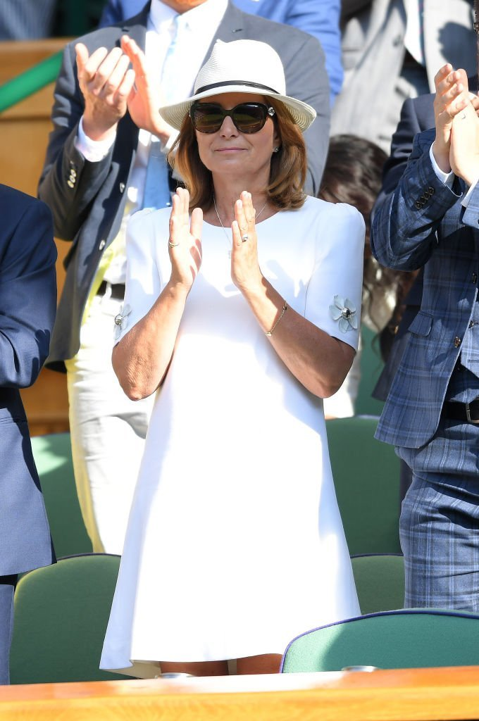 Carole Middleton assiste à la troisième journée de Wimbledon le 3 juillet 2019 au All England Lawn Tennis and Croquet Club | Photo : Getty Images